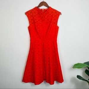MILLY Red Fit And Flare Lace Dress Size 6